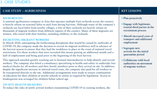 Advice on protecting migrant workers in the context of Covid-19